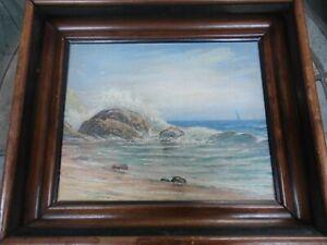 "VICTORIAN SEASCAPE, OIL ON BOARD, Gloucester MA origin, unsigned, 11x12.5"" frame"