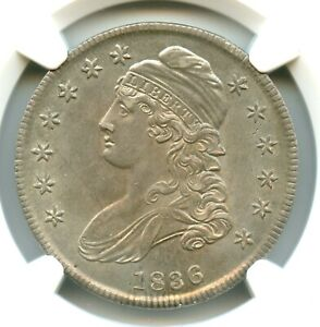 1836 Lettered Edge O-104a Capped Bust Half Dollar, NGC MS64