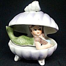 Vintage Semi Nude Mermaid in Open Shell Ceramic Figurine Aquarium Decoration Vtg