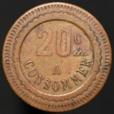 1840-1940 | France 20 Centimes A Consommer Jeton Token | Tokens | KM Coins