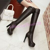 Womens Pu Leather Thigh Shoes High Chunky Heel Platform Over The Knee Boots size