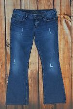 SILVER Women Jeans PIONEER Size 28 Distressed Low Rise Bootcut Flap Pockets