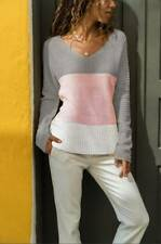 Women Ladies Autumn V-neck Knit Loose Sweater Pullover Casual Long Sleeve Jumper