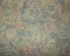 """Vintage voile type SHEER blue/green floral 20' X 44""""  quilt, craft & sew FABRIC"""
