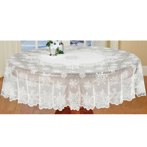 Christmas Classical White Round Lace Snowflake Dining Room Tablecloth 70''