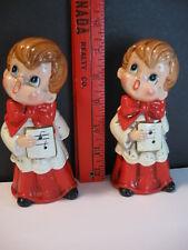 "Vintage Josef Originals Christmas Choir Boy Carolers Figurines pair 6"" H Japan"