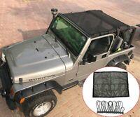 For Jeep Wrangler TJ 1997-2006 Car Roof Insulation Mesh Net Full Cover Black Big