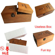 Funny Turns Itself Off Wooden Useless Box Leave Me Alone Machine Assembled toys
