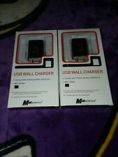 LOT of 2 Mobil Essentials USB Wall Chargers Black For All Phone +USB BRAND NEW!!