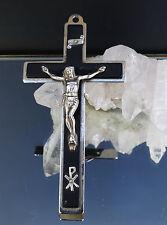 Altes Metall Sterbekreuz - Ordenskreuz mit Jesusfigur und Inrischild 12 cm !!!