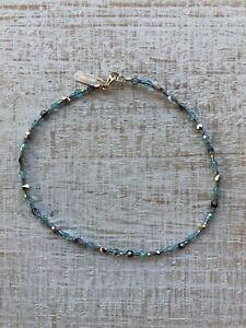 """Holly Yashi Silver Blue Czech Glass 10"""" Beaded Anklet"""