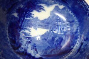 ANTIQUE ROYAL STAFFORDSHIRE BURSLEM ENGLAND PORCELAIN FLOW BLUE WHITE BOWL