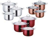 3pc Quality Metallic Stainless Steel Casserole Stockpot Set Deep Cooking Pot Pan