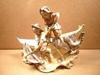 Antique Pottery / Porcelain  Flower Trough / Posy -  Children Fishing on Boat