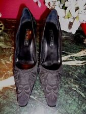 "NINE WEST BEAUTIFUL BLACK SILK EMBROIDERED 4"" HEEL SQUARE TOE 7M XLNT."