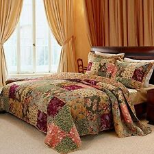 Oversized King Bedspread Quilt Set Floor French Country Patchwork Pattern Floral