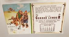 1950 GOLF THEME ADV BLOTTER CALENDAR:  Monkeys Artist Lawson Wood; GORDON LUMBER