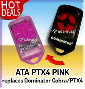 ATA PTX4 PINK Suits Dominator Cobra Garage Door Remote