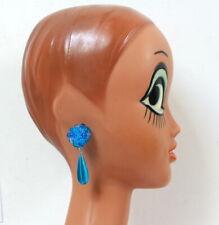 Boucles d'oreilles Clips à pendants bleus translucides vintage