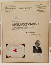 """Milton C. Work Author Signed Autographed 8.5"""" X 11"""" Letter"""