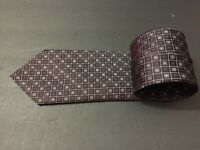Brioni 100% Silk Necktie Squares Boxes Brown Geometric Patern Tie Italy