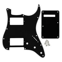 Black 3Ply Guitar HH Pickguard 11 Holes & Back Plate for FD Strat Guitar