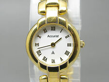 Gold Plated Strap Round Wristwatches with Roman Numerals