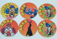 Lot de 6 Jetons AMAR Pogy Circus Cirque Clown (Caps/Tazo/Paddles/Comic Shell/pog