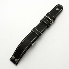 Di Modell Tornado Negro Cuero Reloj Correa: piloto/Gafas: 18, 20, 22mm (AA3)