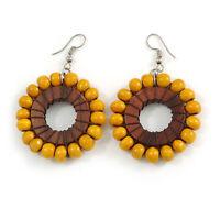 Wood Bead Hoop Earrings In Silver Tone/ Yellow - 65mm Drop
