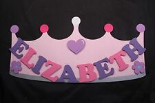 Personalised Wooden Name Plate Children Door or Wall Sign Light Pink Crown