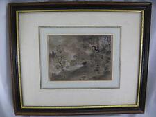 Niessen Johannes 1821-1920 Handzeichnung Kohle Kreide  Landschaft mit Haus 1891