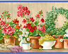 Flowers Garden Pots Grapes Floral Gardenia Daisy Vintage Wallpaper Wall Border