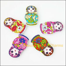 25 New Wooden Russian Dolls Buttons Fit Sewing Or Scrapbook Mixed 17.5x29.5mm