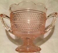 Pink Depression Glass Two-Handled Sugar Bowl FLUTED TYPE TOP BEAD DESIGN