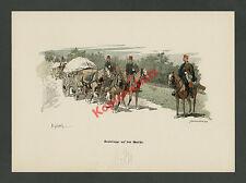 Myrbach K.u.K Heer Traintruppe Dragoner Wagenzug Reiter Pferde Wappen Adel 1888