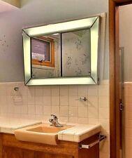 Retro Modern Vintage 1960's Chrome Mirror Bathroom Medicine Cabinet Lighted