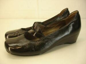 Women's 9 9.5 sz 40 JOSEF SEIBEL Brenta 04 Wedge Heel Shoes Black Patent Leather