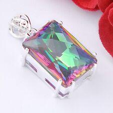 Magic Valentine's Day Gift Rainbow Mystic Topaz Gemstone  Silver Fashion Pendant