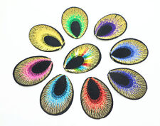 30Pcs Peacock Eyes Motif Embroidered Cloth Iron On Patches/Sew On Applique Badge