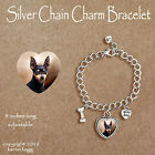 MINIATURE PINSCHER DOG Black  - CHARM BRACELET SILVER CHAIN & HEART
