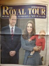 DUKE DUCHESS CAMBRIDGE KATE WILLIAM GEORGE ROYAL TOUR AUSTRALIA PHOTO NEWSPAPER