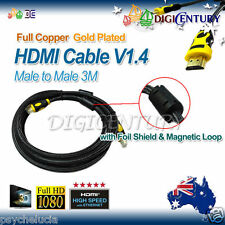 Full Copper HDMI Cable V1.4 3D HighSpeed with Foil Shield & Magnetic Loop 3m