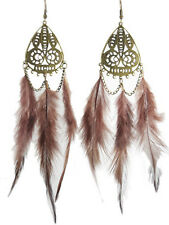F1349 fashion brown Feather circle chain dangle chandelier earrings jewelry