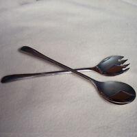VTG Silverplate Flatware Salad Serving Spoon Fork Set Silver Plate Utensil Italy