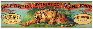 ORIGINAL GRAPE CRATE LABEL VINTAGE LODI C1920S ROYAL TIGER WILD CAT BEAST