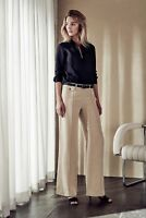 NWT $199 Designer Country Road Trenery LINEN SILK Trouser Pants -WHITE - FLAX