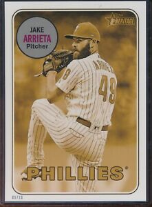 2018 Topps Heritage High Number Jake Arrieta 5x7 Gold Action Image /10