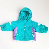 Columbia Coat Jacket Infant Girls 12 Months Front Zip Hooded Green/Purple Nylon