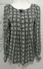 Massimo Dutti Long Sleeved Grey And Black Print All Silk Blouse UK 10 Small